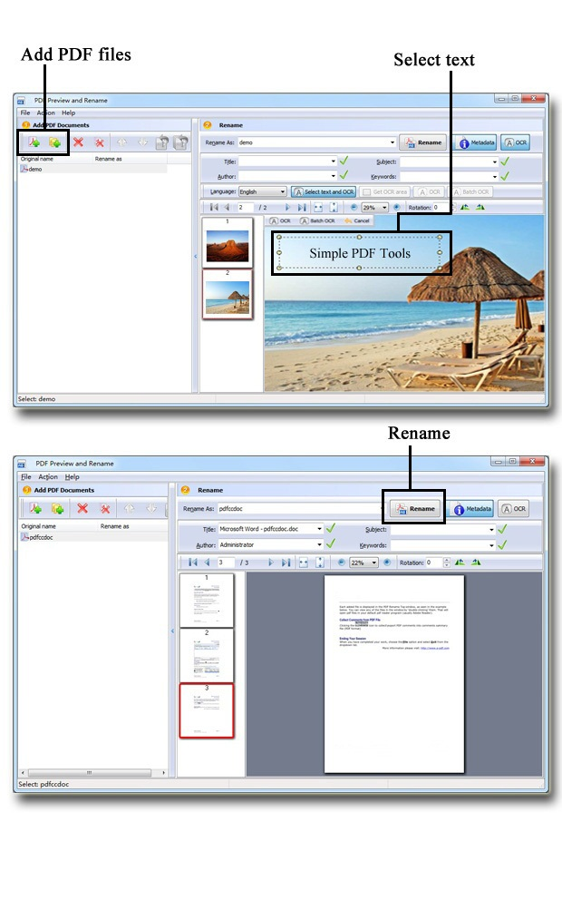 Simple PDF Preview and Rename- batch renaming PDF files by OCR